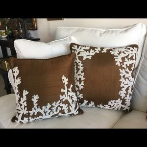 "Pillows 18"" square w beading"